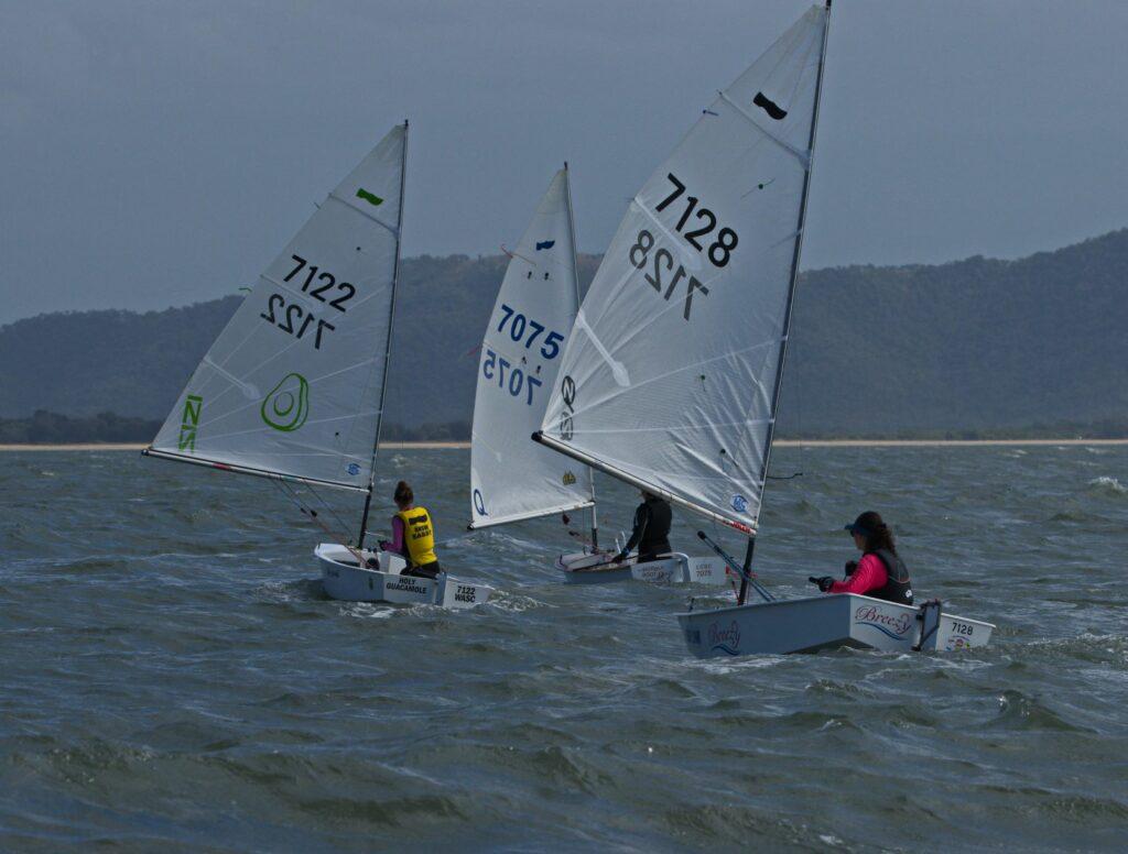 Girls sailing downwind/