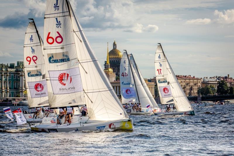Fleet racing with the backdrop of St. Petersburg