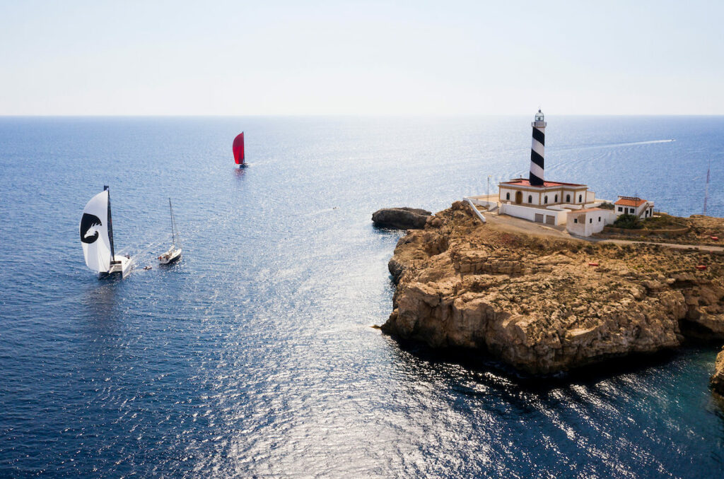 Aerial shot of the Multihull Cup Race at Mallorca