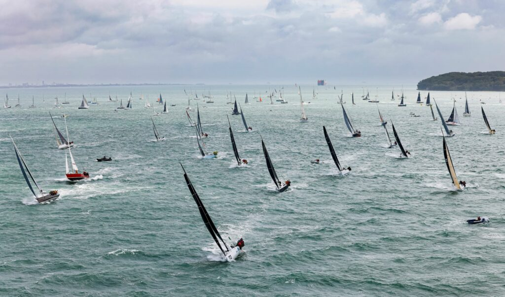 The upwind start into lumpy seas that challenged so many of the fleet in the 49th Rolex Fastnet Race.