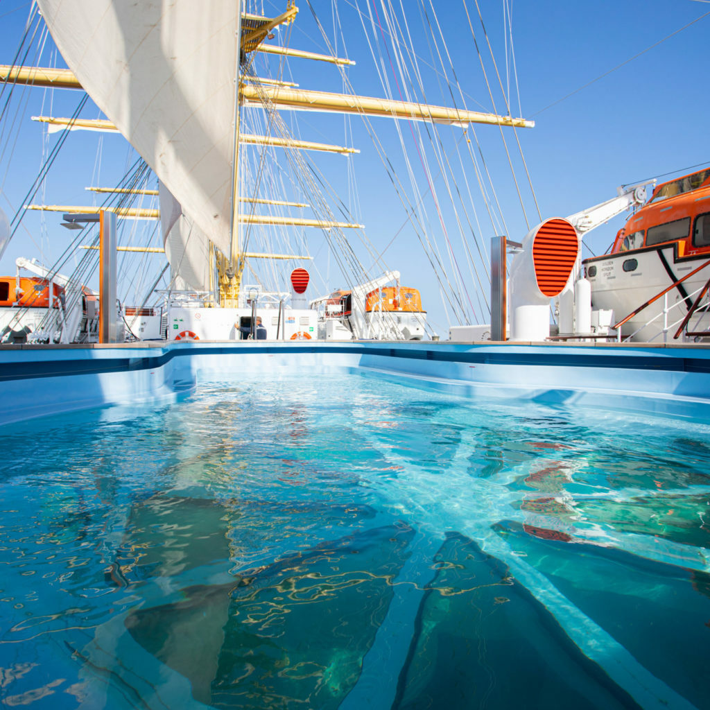 The pool on the deck of the sailing ship.