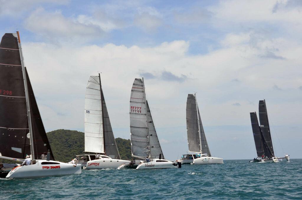 Multihull race start at Phuket Raceweek.