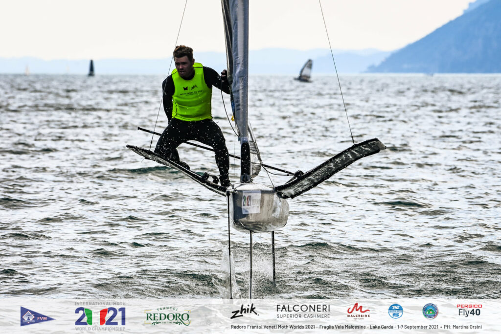 Tom Slingsby just finishing a tack while foiling.