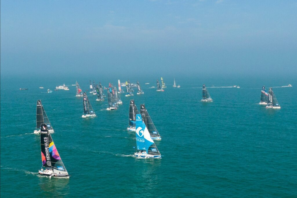 Aerial shot of the 34 boats starting the race.