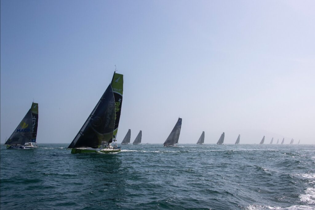 The fleet splitting on the race course after the start.