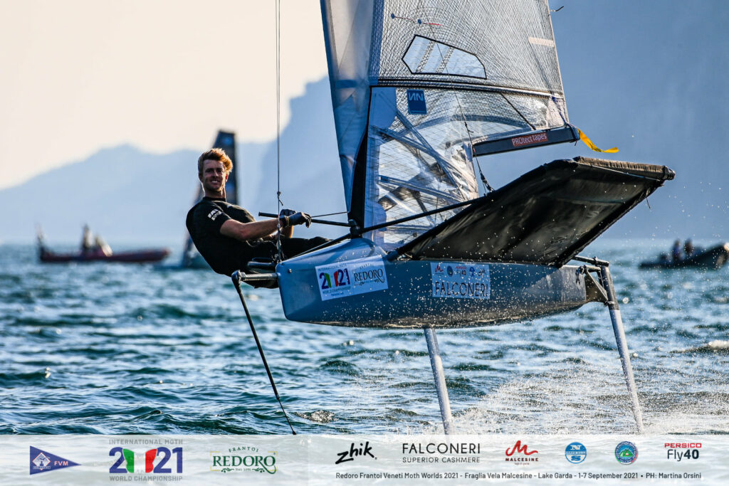 Will Ryan smiling while foiling upwind.