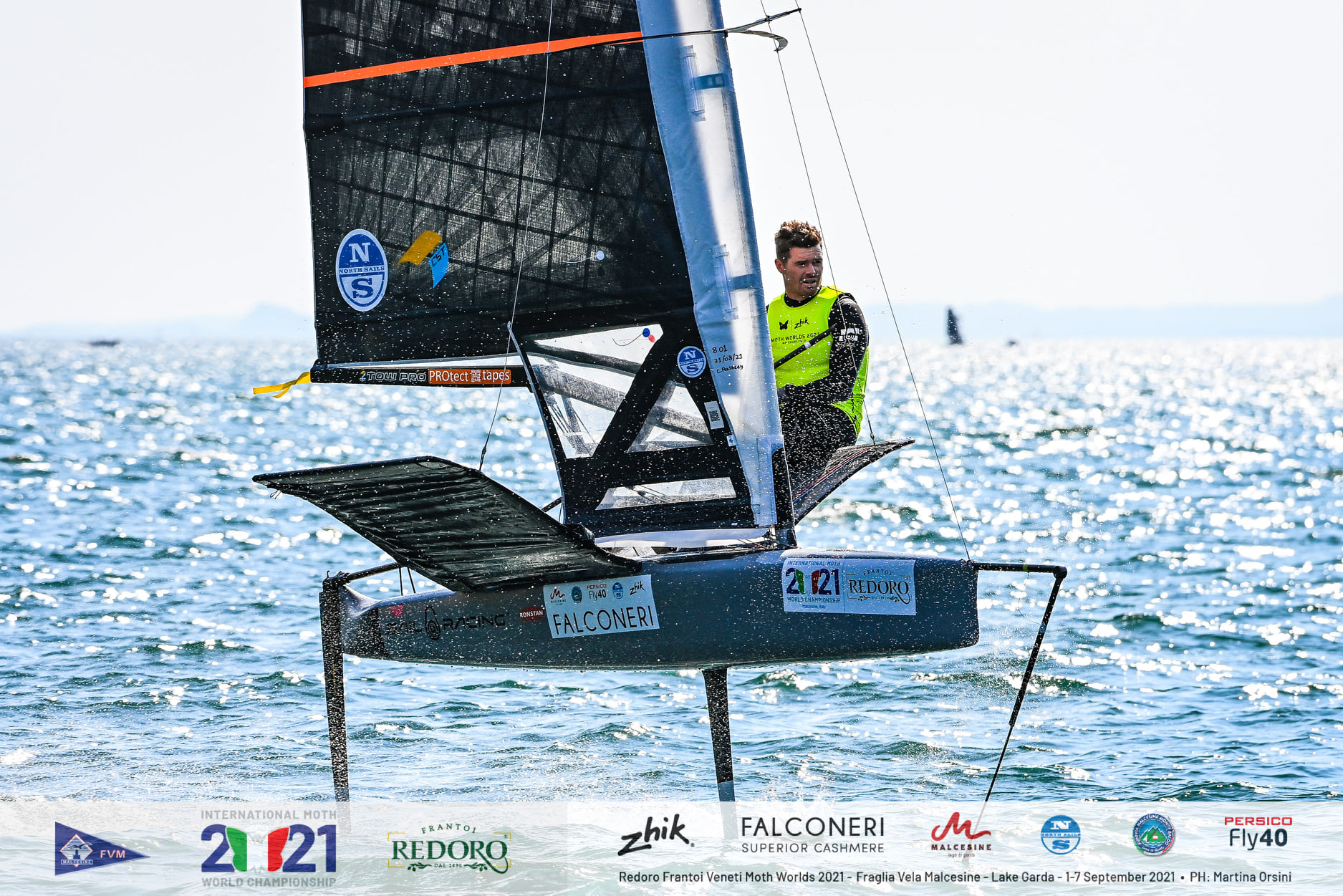 Tom Slingsby sailing upwind on the moth foiling.