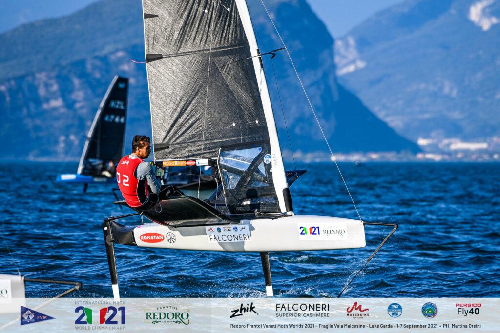 Iain Jensen sailing upwind on foils.