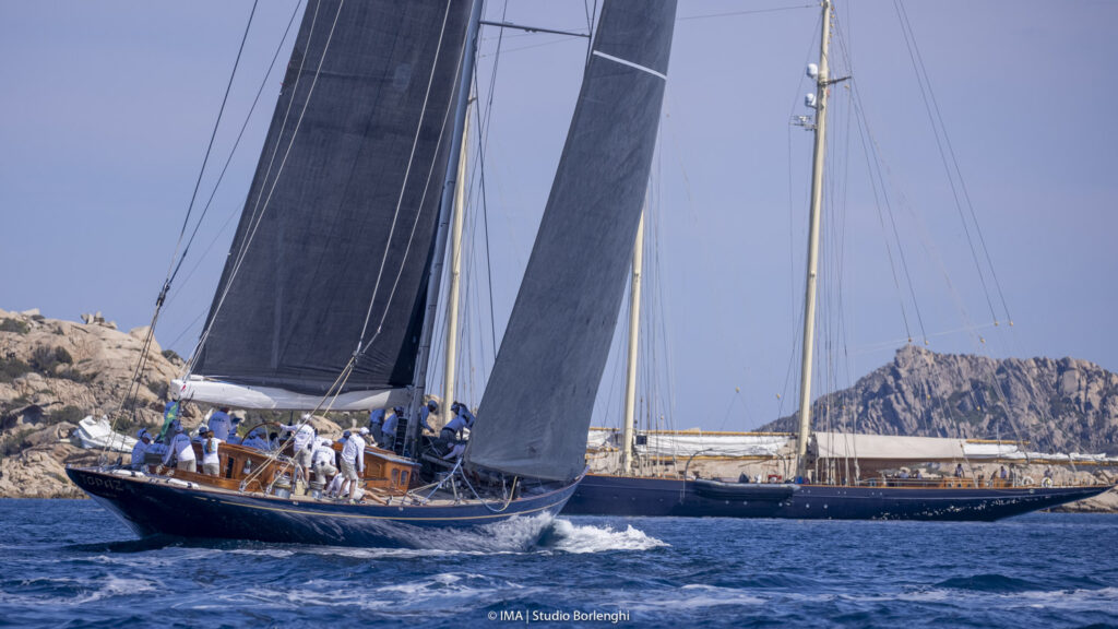 The biggest boat competing, the J Class Topaz, is dwarfed by the mighty three masted schooner Atlantic.