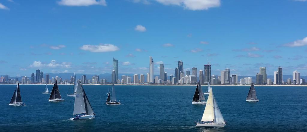 Yachts racing off Gold Coast main strip.
