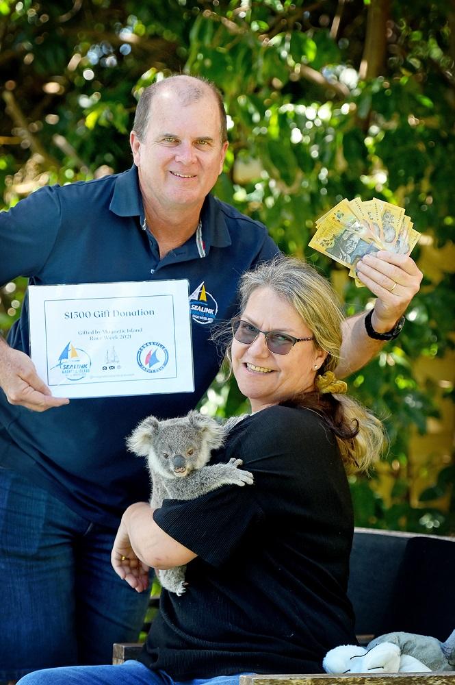 Mike Steel, Dr Ali Bee holding Koala Poko.