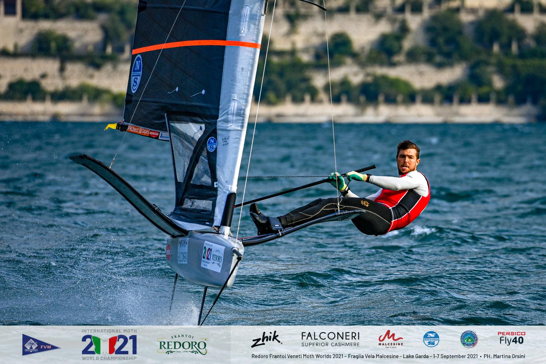 Iain Jensen sailing upwind.