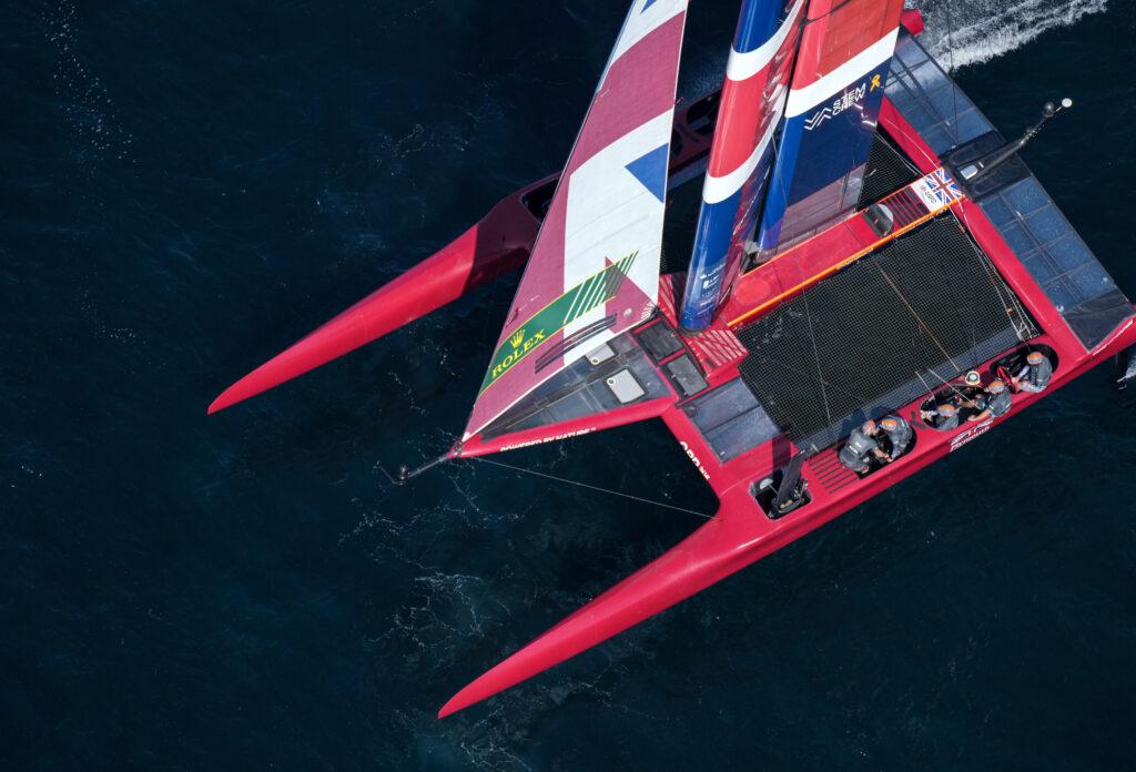 Aerial shot of Great Britain SailGP Team sailing.