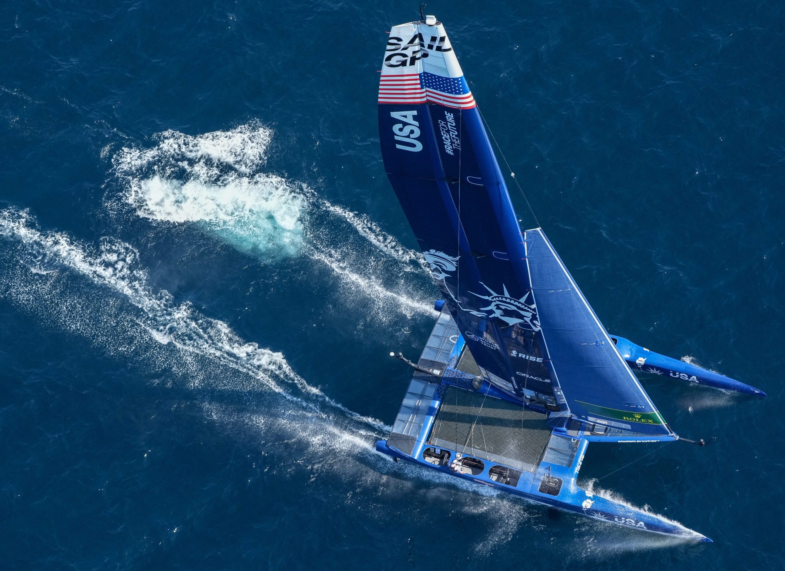 Aerial shot of US SailGP Team.