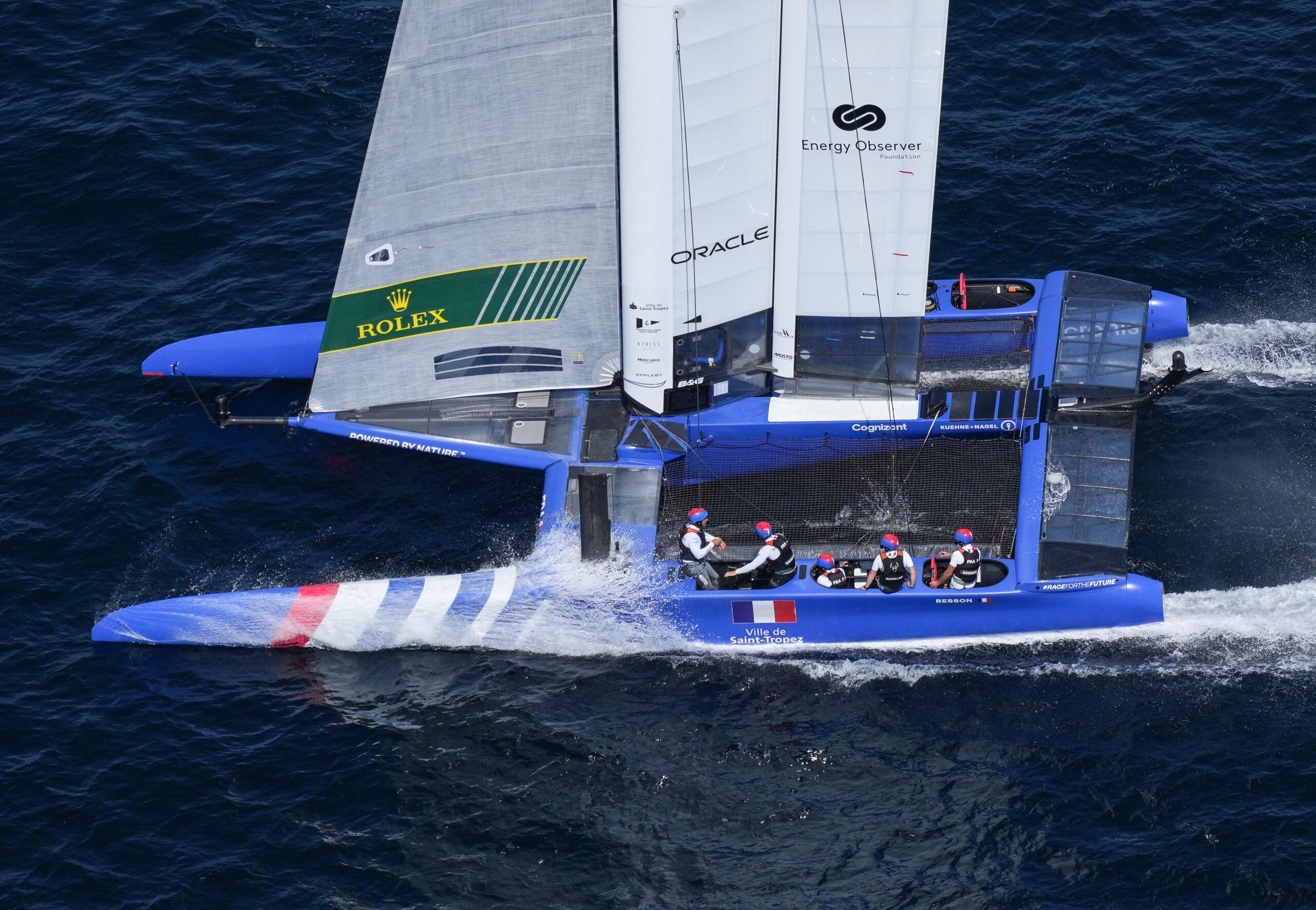 Aerial shot of France SailGP Team sailing.