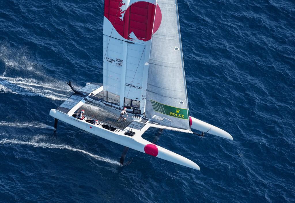 Aerial shot of Team Japan sailing