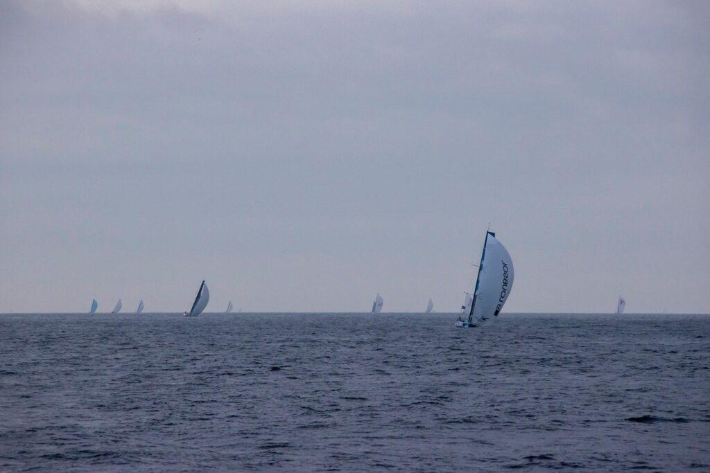 Fleet sailing downwind, foggy air.