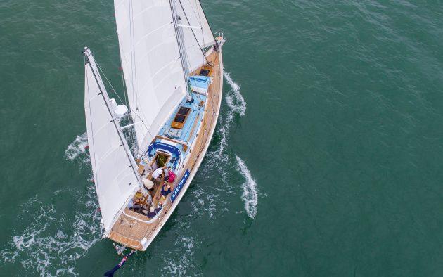 Aerial shot of Saecwen sailing.