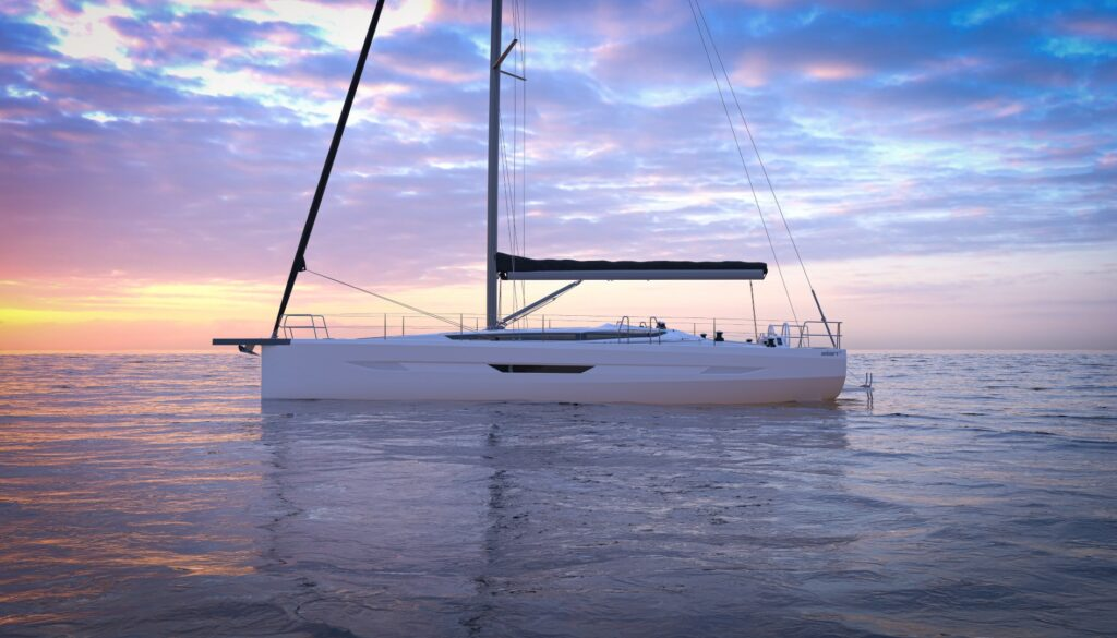 Side view of the the Elan E6, with no sails up, at sunset.