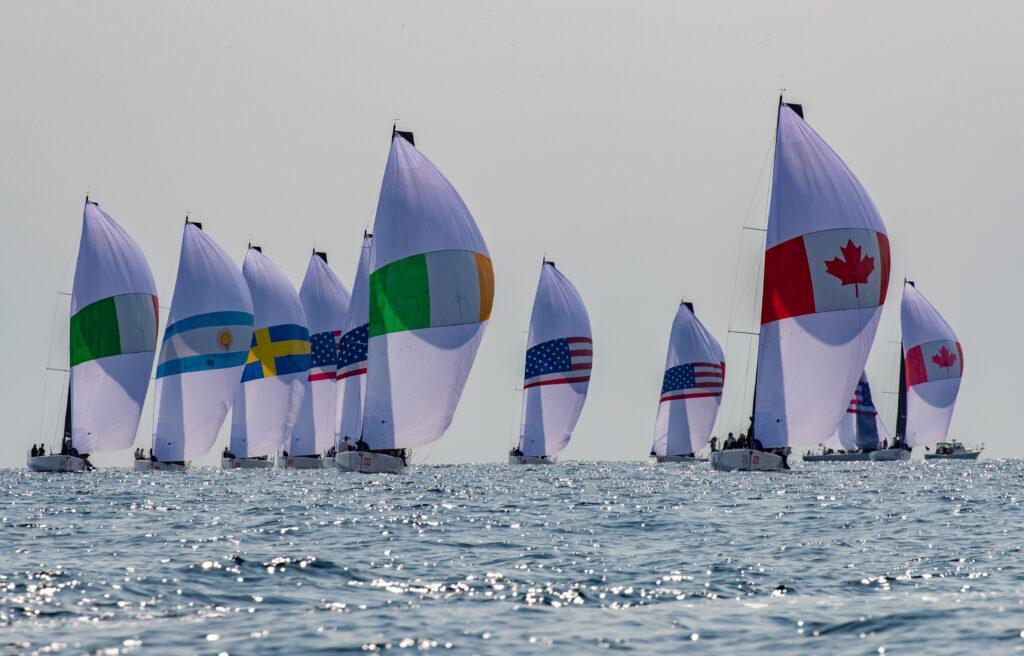 The fleet on a spinnaker run. Ireland and Canada leading.