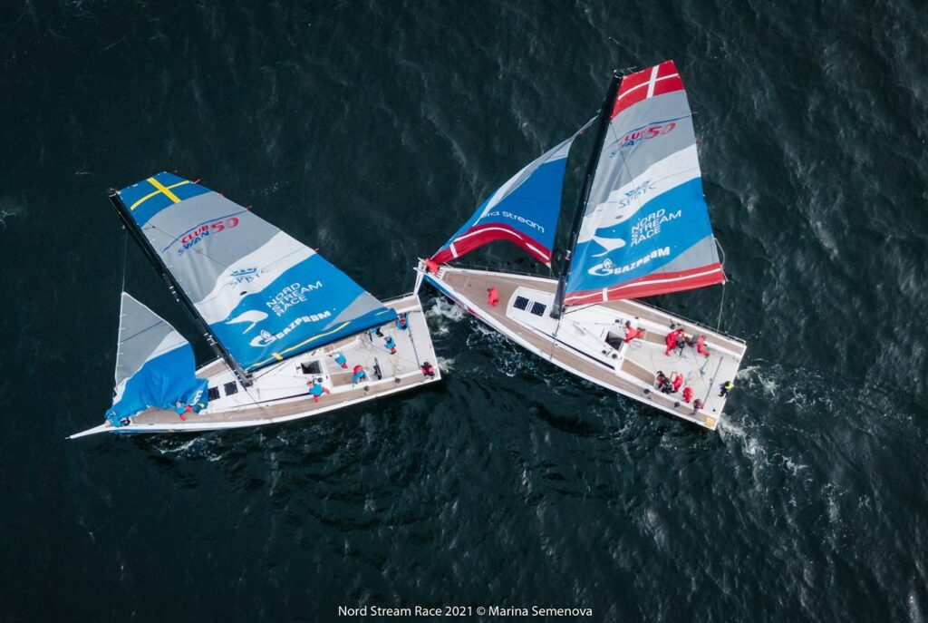 Aerial shot of the Danish team's bow sprit hitting the stern of the Swedish yacht.