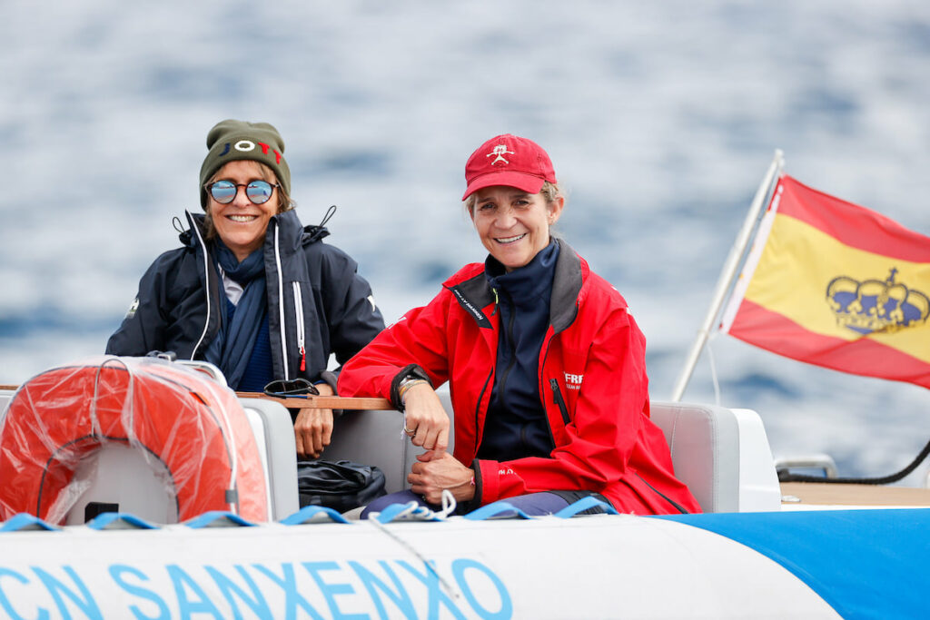 Her Royal Highness Infanta Dona Elena of Spain and another lady on a RIB on the water.