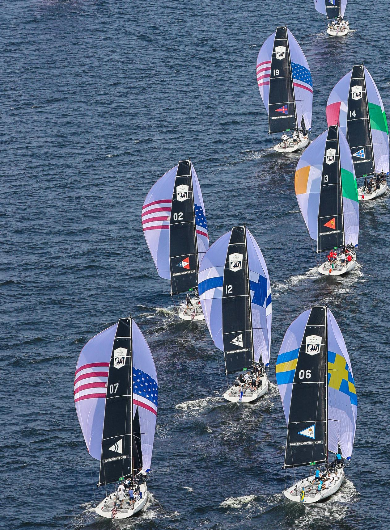 Aerial shot of fleet on kite run.