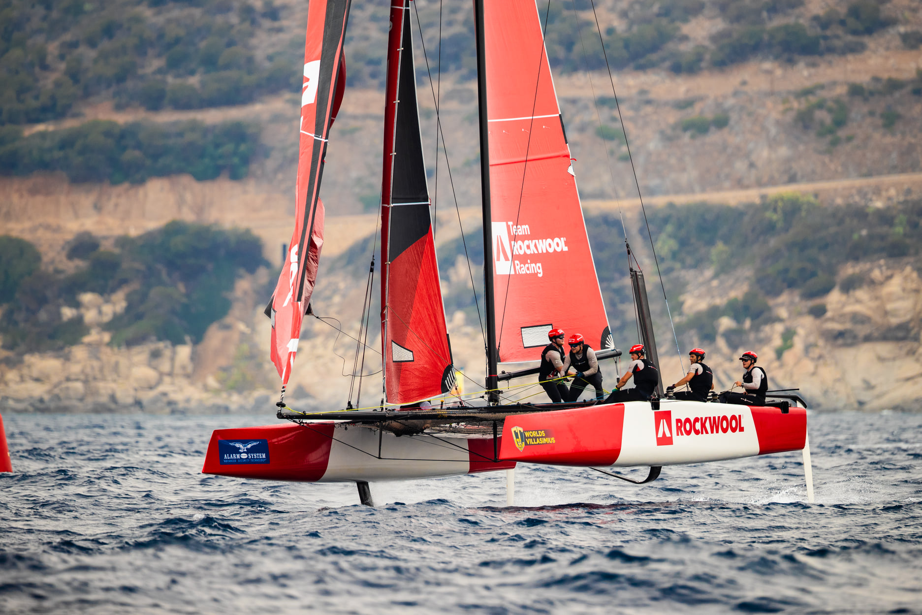 Team Rockwool Racing on foils, sailing on a reach.