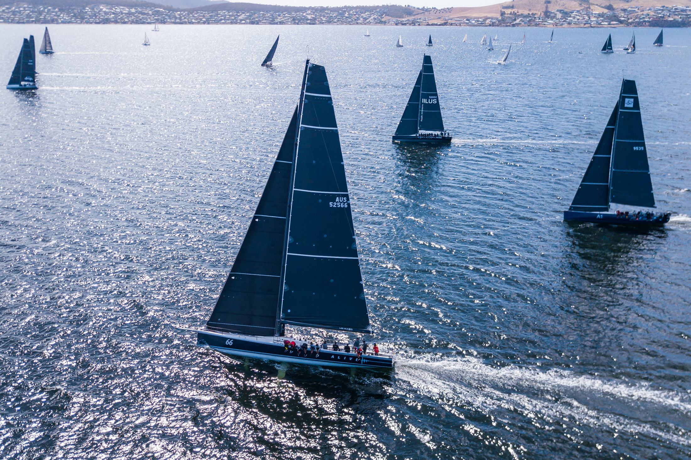 Aerial shot of yachts racing upwind