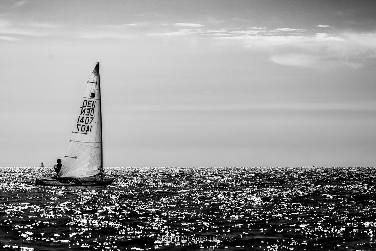 Black and white photo of Malte Pedersen sailing