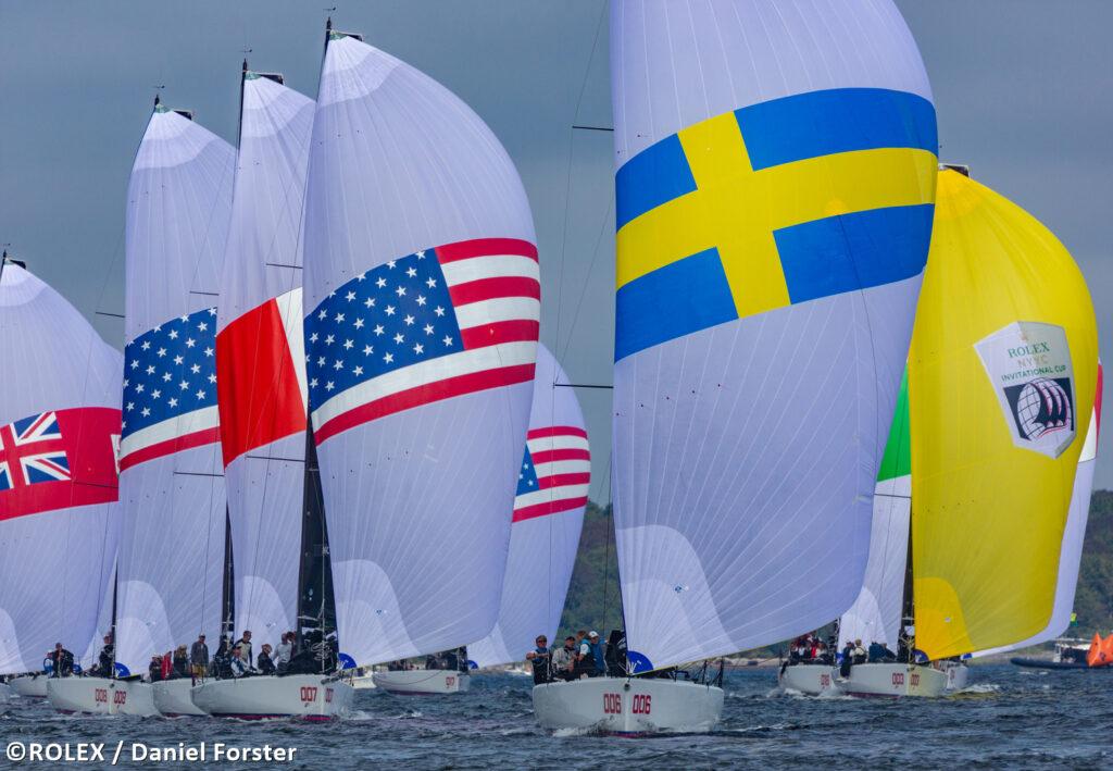Fleet sailing downwind. Swedish yacht leading the fleet.