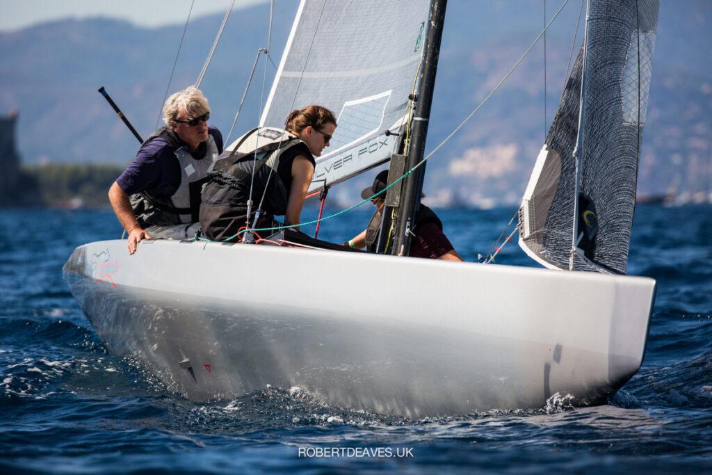 Silver Fox sailing upwind.