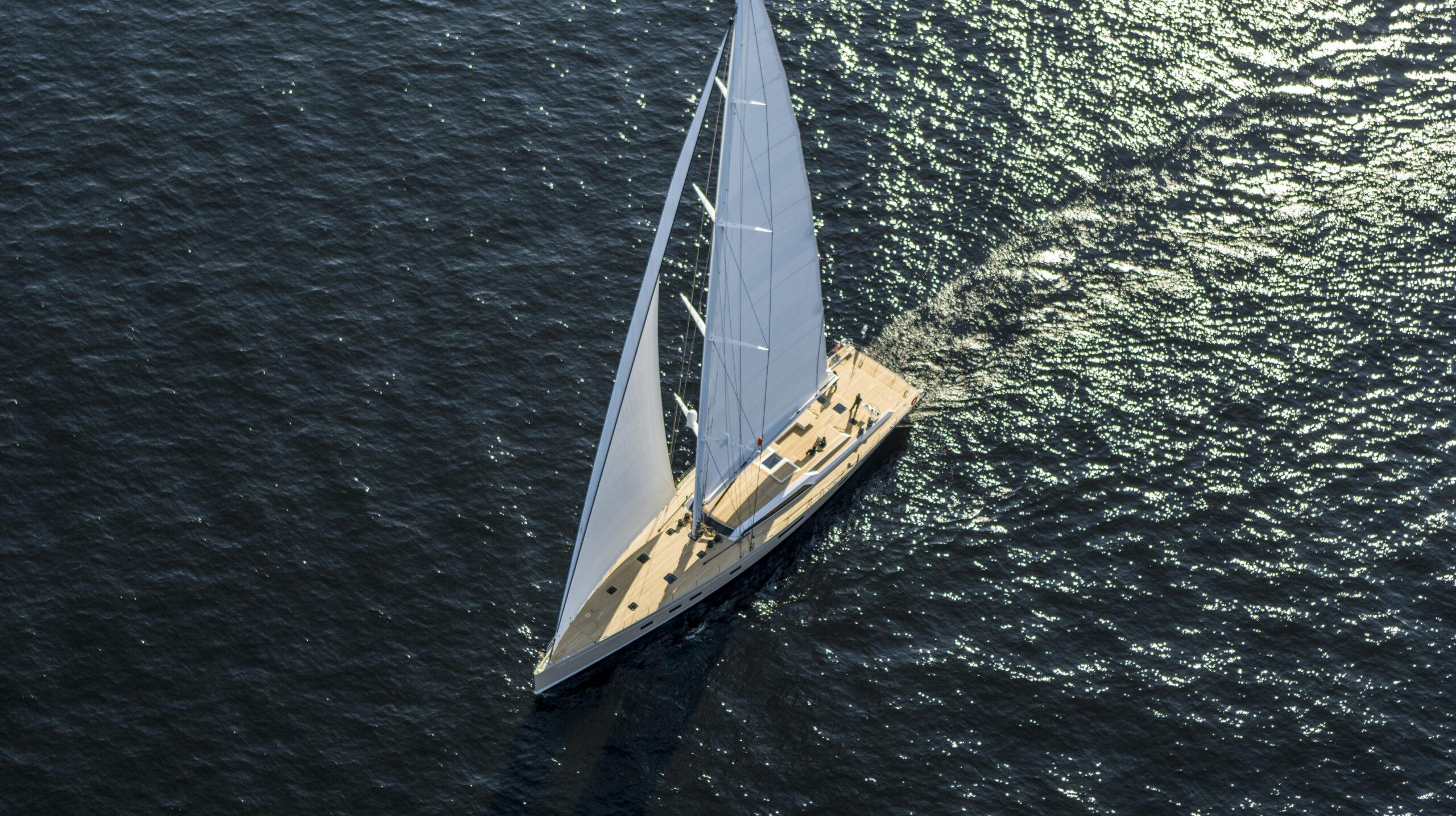 Aerial shot of Swan 120 sailing