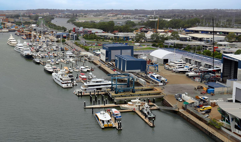 Aerial shot of Rivergate Marina