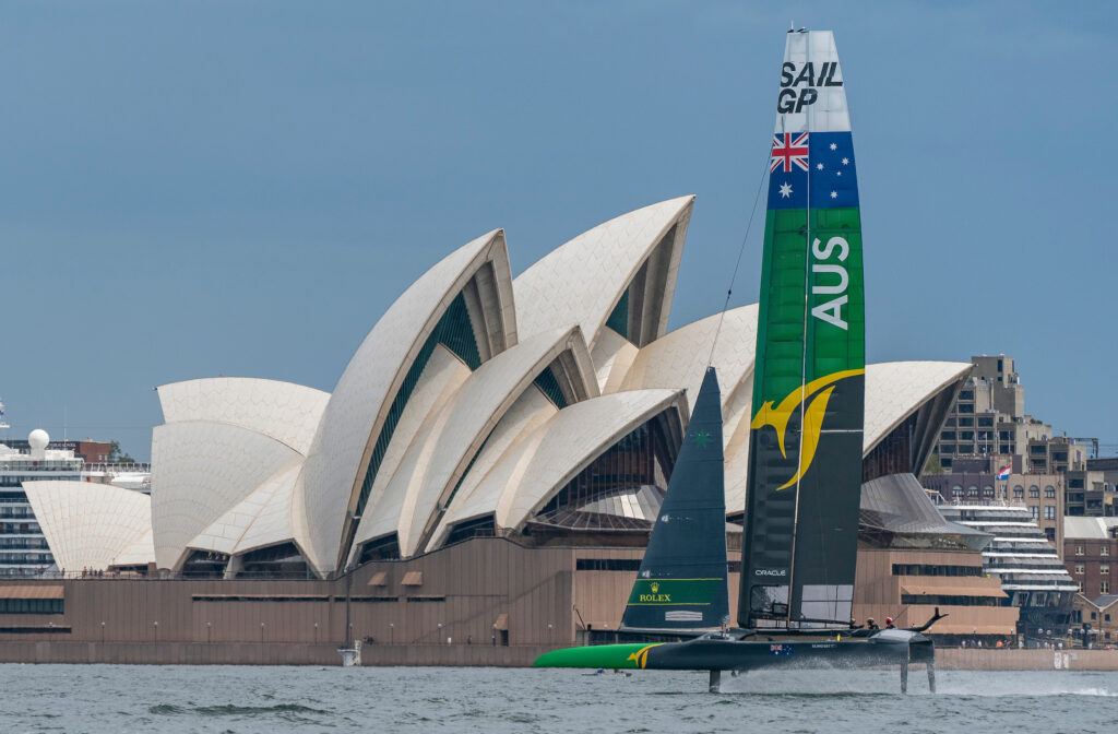 Australian SailGP Team sailing in front of the Opera House.