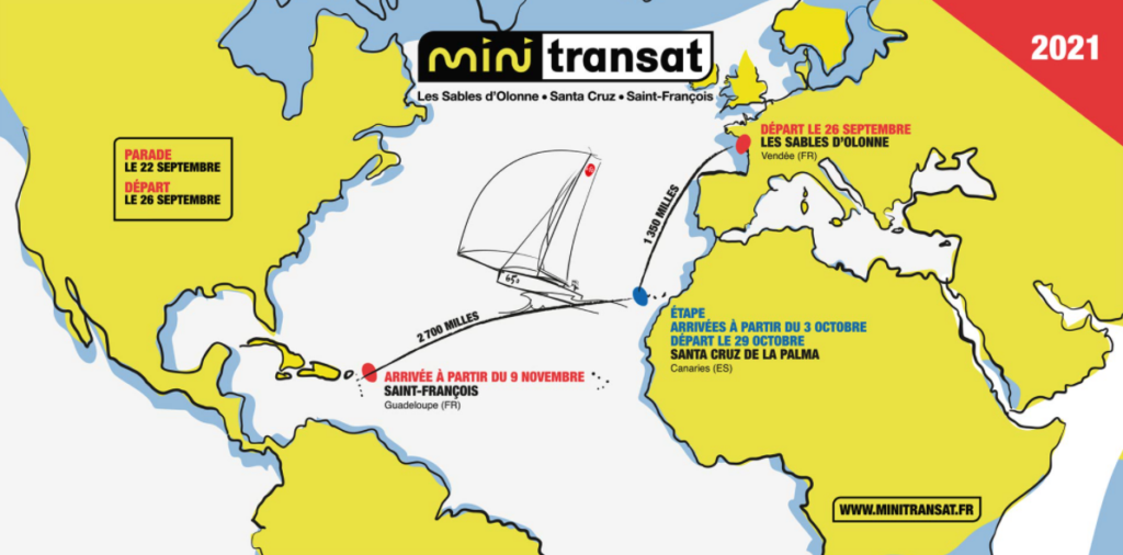 Mini Transat map showing leg one and leg 2.
