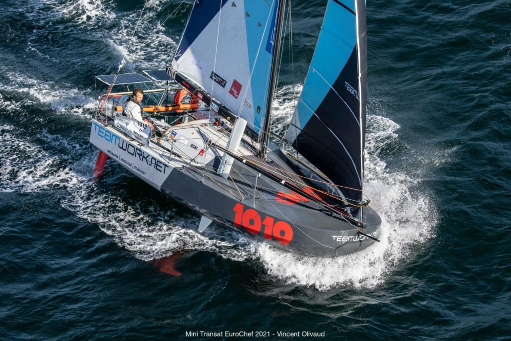 Aerial shot of a yacht sailing.