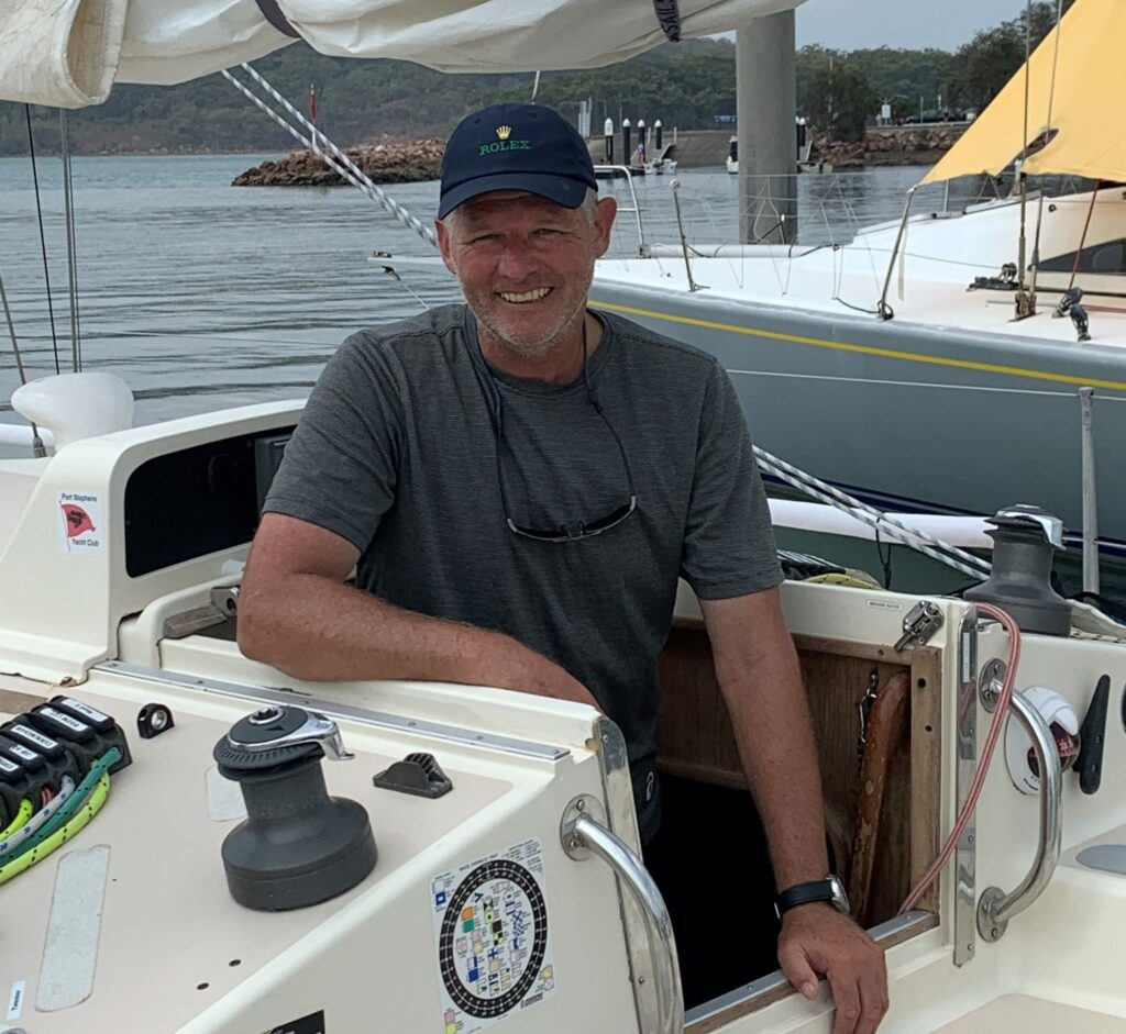 Kevin Le Poidevin smiling on his boat.