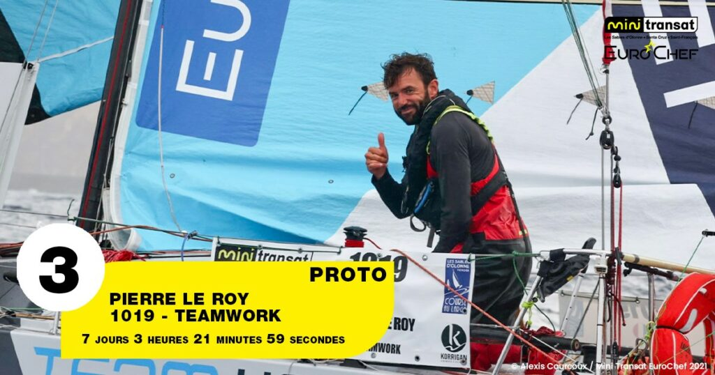 Pierre Le Roy giving the camera a thumbs up on his boat.