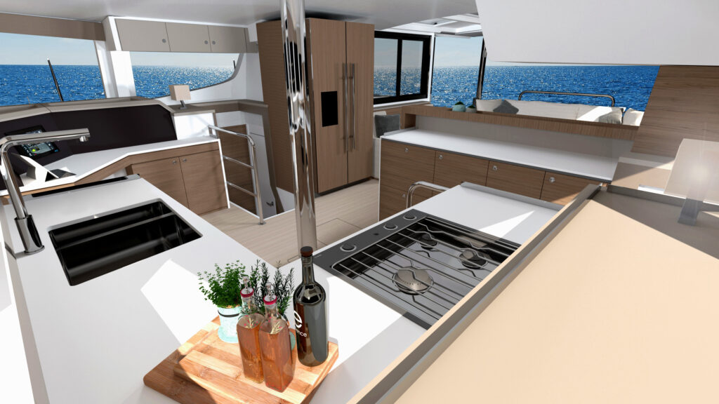 Interior of Bali 4.4. The galley surrounded by windows looking onto the water.