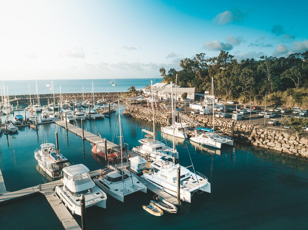 Aerial short of Coral Sea Marina