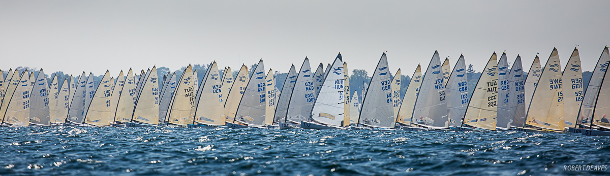 A big fleet of boats working upwind after the race start.