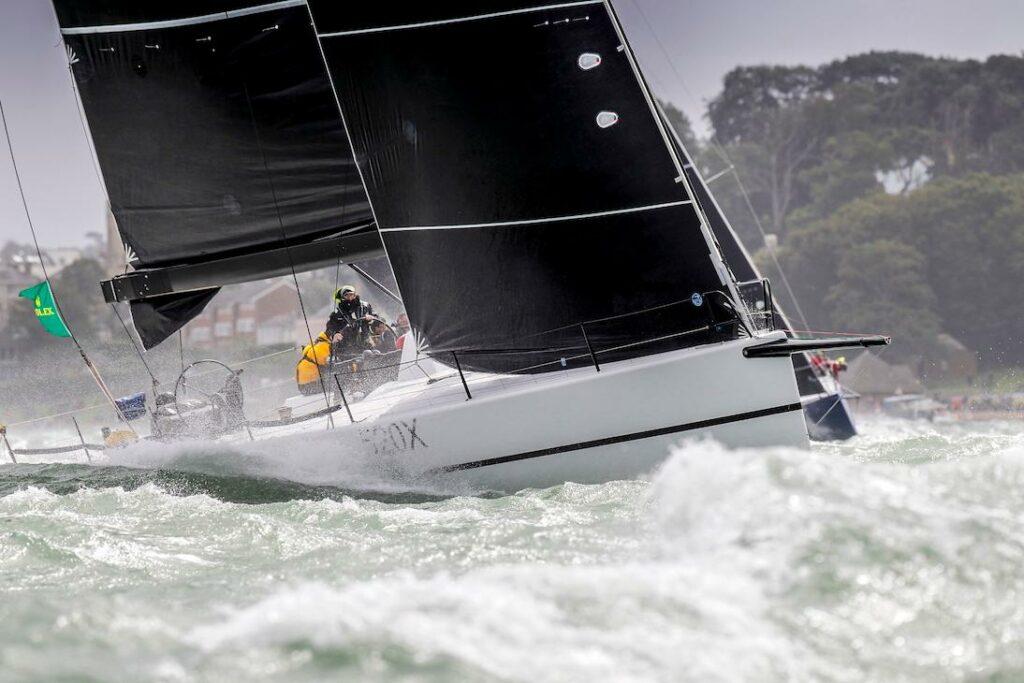 Tala sailing upwind in super choppy conditions.