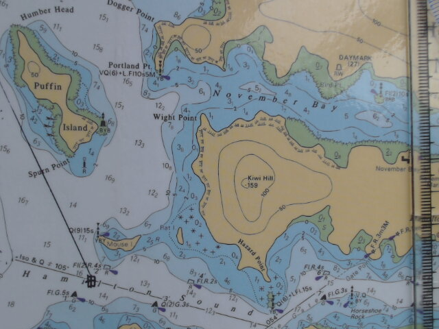 Example of an inappropriate waypoint when entering a channel drawn on a paper chart.