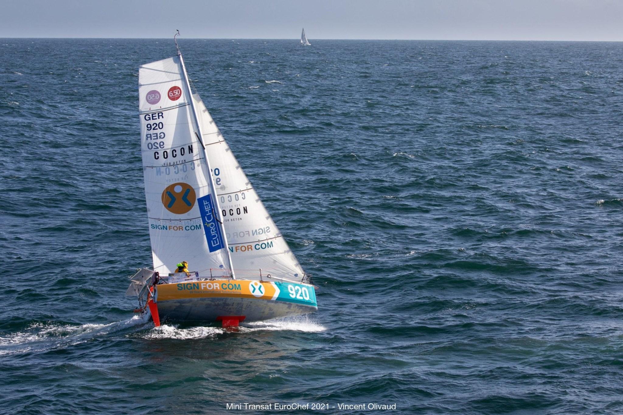 Aerial shot of Melwink Fink sailing upwind, boat healing.