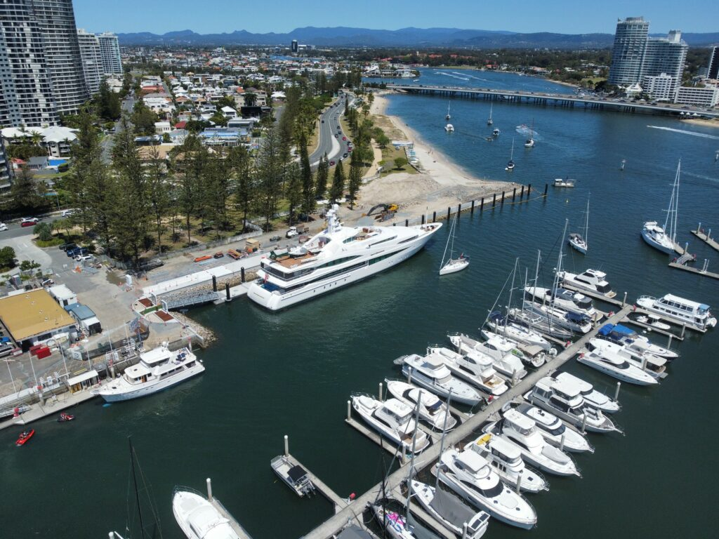 Aerial shot of Southport Yacht Club and the marina
