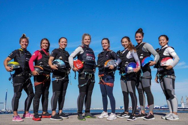 SailGP female sailors standing together