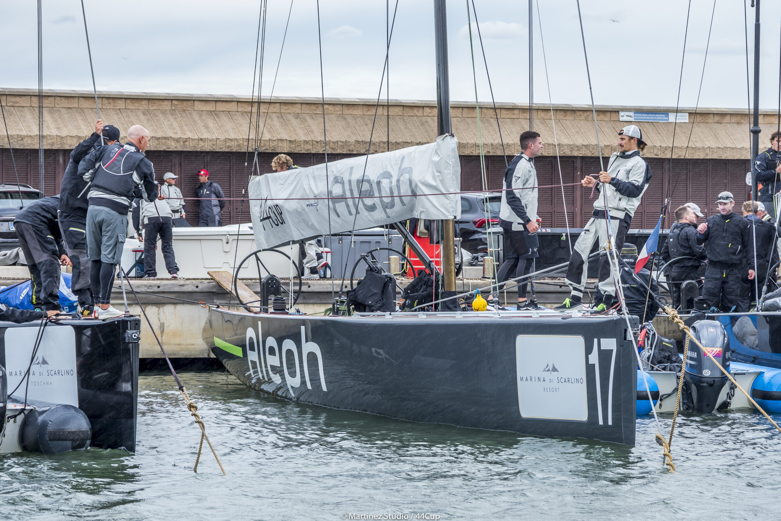 Sailors docking their boat