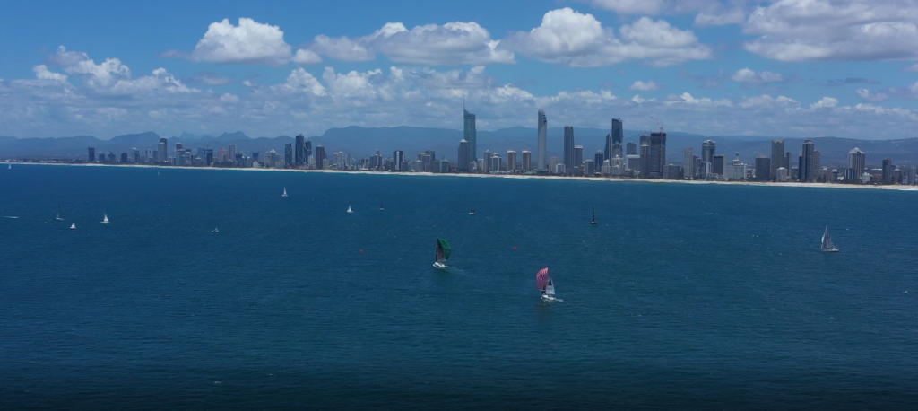 Aerial shot of yachts racing off the Gold Coast