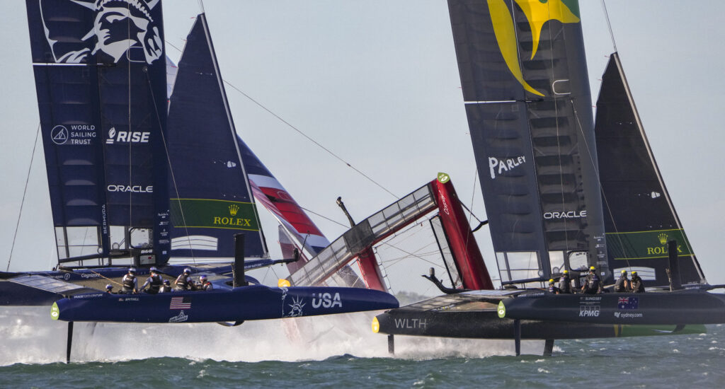 GBR capsizing as Australia and USA try and avoid.